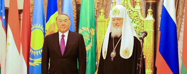 Патриарх Кирилл наградил Н. А. Назарбаева орденом преп. Сергия Радонежского I степени